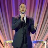 Singer Gary Barlow performs onstage during The Weinstein Company's Academy Awards Nominees Dinner on Feb. 21, 2015 in Los Angeles, California.