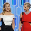 The moment together when Amy Schumer and Jennifer Lawrence is onstage during the 73rd Annual Golden Globe Awards at The Beverly Hilton Hotel on Jan. 10, 2016 in Beverly Hills, California.