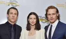 Tobias Menzies, Caitriona Balfe, and Sam Heughan of