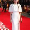 Angelina Jolie was a Stunner in a White Mini-Cape Dress in the Unbroken London Premiere