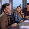 Adam Lambert on the judges table for American Idol 2015 with Jennifer Lopez and Harry Connick Jr