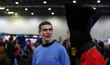 Star Trek fans walk through the exhibition hall at the
